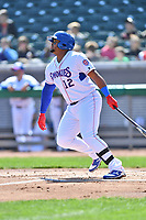 Tennessee Smokies first baseman Yasiel Balaguert (12) swings at a pitch during a game against the Jackson Generals at Smokies Stadium on April 11, 2018 in Kodak, Tennessee. The Generals defeated the Smokies 6-4. (Tony Farlow/Four Seam Images)