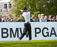 21.05.2015. Wentworth, England. BMW PGA Golf Championship. Round 1.  Gary Stal [FRA] on the first tee. The first round of the 2015 BMW PGA Championship from The West Course Wentworth Golf Club