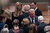 Former Vice President Joe Biden, fourth from left, and his wife Jill Biden, second from left, speak with Ivanka Trump, the daughter of President Donald Trump, third from left, and her husband, President Donald Trump's White House Senior Adviser Jared Kushner, third from right, as former Vice President Al Gore, second from right, speak to former President Jimmy Carter, right, and former first lady Rosalynn Carter, bottom center, before a State Funeral for former President George H.W. Bush at the National Cathedral, Wednesday, Dec. 5, 2018,  in Washington. <br /> Credit: Andrew Harnik / Pool via CNP