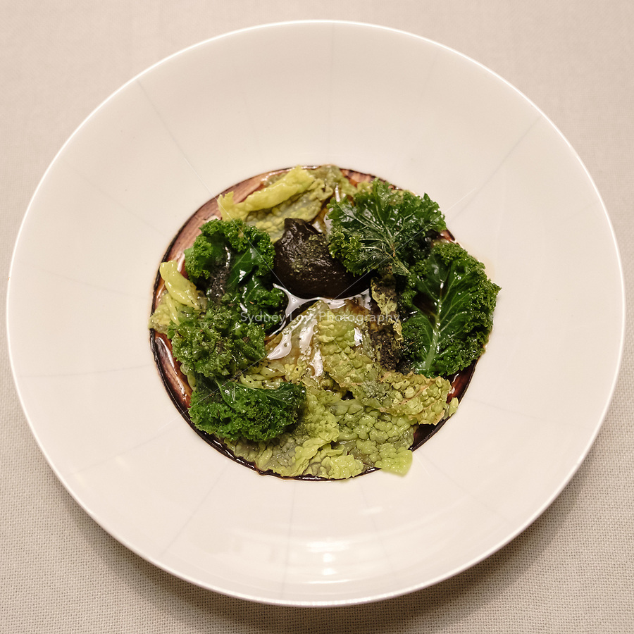 The dish of kale, lovage and garlic at the einsunternull restaurant in Berlin by Ivo Ebert and Chef Andreas Rieger. Photo Sydney Low