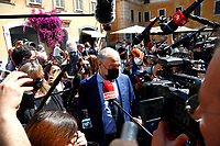 Enrico Michetti, candidate Mayor of Rome speaks with the press during the presentation of the candidates at the next elections for the mayor of Rome for the center-right coalition.<br /> Rome (Italy), June 11th 2021<br /> Photo Samantha Zucchi Insidefoto