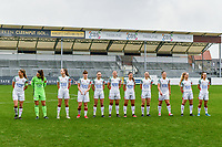 Line-up team OHL ( Lenie Onzia (8) of OHL , Goalkeeper Louise Van Den Bergh (1) of OHL , Sari Kees (2) of OHL , Zenia Mertens (6) of OHL , Jill Janssens (7) of OHL , HannahEurlings (9) of OHL , Luna Vanzeir (10) of OHL , Estee Cattoor (11) of OHL , Sara Yuceil (13) of OHL , Tess Lameir (18) of OHL , Marith De Bondt (31) of OHL ) pictured before a female soccer game between Eendracht Aalst and OHL on the 13 th matchday of the 2020 - 2021 season of Belgian Scooore Womens Super League , Saturday 6 th of February 2021  in Aalst , Belgium . PHOTO SPORTPIX.BE   SPP   STIJN AUDOOREN