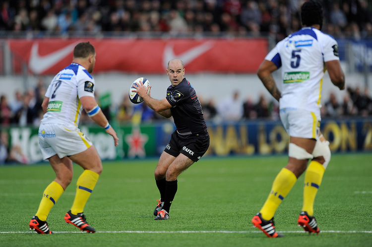 Charlie Hodgson of Saracens in action during the European Rugby Champions Cup  Round 1 match between Saracens and ASM Clermont Auvergne at the Twickenham Stoop on Saturday 18th October 2014 (Photo by Rob Munro)