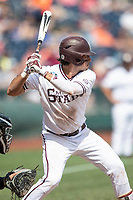 Mississippi State Bulldogs third baseman Marshall Gilbert (34) at bat during Game 8 of the NCAA College World Series against the Vanderbilt Commodores on June 19, 2019 at TD Ameritrade Park in Omaha, Nebraska. Vanderbilt defeated Mississippi State 6-3. (Andrew Woolley/Four Seam Images)