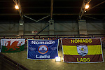 Connah's Quay Nomads 1 Llandudno 1, 20/09/2016. Deeside Stadium, Welsh Premier League. Home team flags draped from the stand at the Deeside Stadium after Connah's Quay Nomads played Llandudno in a Welsh Premier League match. Both clubs represented Wales in the 2016-17 Europa League, the first time either had competed in European competition. The match ended in a 1-1 draw, watched by 181 spectators. Photo by Colin McPherson.