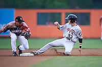 Tri-City ValleyCats outfielder Johnny Sewald (33) slides into second as second baseman Drew Turbin (32) covers the bag during a game against the Aberdeen Ironbirds on August 6, 2015 at Ripken Stadium in Aberdeen, Maryland.  Tri-City defeated Aberdeen 5-0 in a combined no-hitter.  (Mike Janes/Four Seam Images)