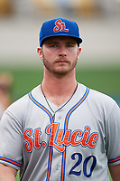 St. Lucie Mets first baseman Peter Alonso (20) before the second game of a doubleheader against the Lakeland Flying Tigers on June 10, 2017 at Joker Marchant Stadium in Lakeland, Florida.  Lakeland defeated St. Lucie 9-1.  (Mike Janes/Four Seam Images)