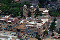 aerial photograph of central Santa Fe, New Mexico, Cathedral Basilica of St. Francis of Assisi in the background