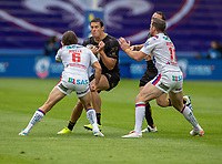 22nd August 2020; The John Smiths Stadium, Huddersfield, Yorkshire, England; Rugby League Coral Challenge Cup, Catalan Dragons versus Wakefield Trinity; Joel Tomkins of Catalan Dragons is tackled by Jacob Miller of Wakefield Trinity