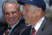 Jerry Coleman, the voice of the San Diego Padres, shares a light moment with long time friend, Dr Bobby Brown during Memorial Day ceremonies at the Mount Soledad Veterans Memorial, La Jolla, CA, USA Monday May 26 2008.  Coleman, who is a highly decorated WWII and Korean War pilot was honored with a special plaque during the ceremonies.
