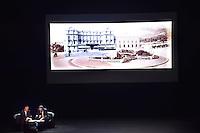 """---- NO TABLOIDS, NO WEB -- EXCLUSIF - Vincent Vatrican, à gauche, Directeur des archives audiovisuelles de Monaco, et Thomas Fouilleron, Directeur des Archives et de la Bibliothèque du Palais princier, lors de la Ciné-conférence avec la projection du film """"L'invention de Monte Carlo"""", 150 ans d'histoire en images, proposée par les Archives audiovisuelles de Monaco et les Archives du Palais Princier de Monaco, le 22 juin 2016 à l'Opéra Garnier de Monaco. Ce film documentaire commenté en direct sur la scène de l'Opéra relate toute l'histoire de ce quartier de la Principauté : """"Monte Carlo"""" rendu célébre dès le début du XXeme siécle par son Casino puis par les nombreuses manifestations de prestiges qui y ont été organisées autant culturelles, comme les ballets ou les concerts de musique classique, ou que le Festival de Télévision, mais aussi sportives comme les départs des Rallyes de Monte Carlo. A travers ce quartier mythique de la Principauté, le spectateur est plongé dans l'histoire de Monaco et de son développement touristique et économique, de la création de la Société des Bains de Mer (SBM), au face à face entre le Prince Rainier III et Onassis, sans oublier les nombreux films tournés à Monte Carlo. # LE PRINCE ALBERT DE MONACO ET LA PRINCESSE CAROLINE A UNE CINE-CONFERENCE A L'OPERA GARNIER DE MONACO"""