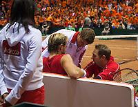 13-sept.-2013,Netherlands, Groningen,  Martini Plaza, Tennis, DavisCup Netherlands-Austria, First Rubber,  Oliver Marach (AUT) gets a injury treatment <br /> Photo: Henk Koster
