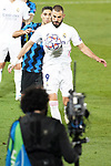 Real Madrid's Karim Benzema (r) and Football Club Internazionale Milano's Achraf Hakimi and TV camera during UEFA Champions League match. November 3,2020.(ALTERPHOTOS/Acero)
