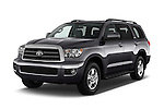 2017 Toyota Sequoia SR5 5 Door SUV Angular Front stock photos of front three quarter view