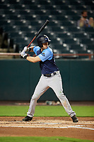 Trenton Thunder left fielder Zack Zehner (63) at bat during the second game of a doubleheader against the Bowie Baysox on June 13, 2018 at Prince George's Stadium in Bowie, Maryland.  Bowie defeated Trenton 10-1.  (Mike Janes/Four Seam Images)