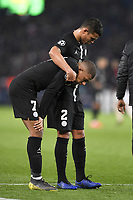 dejection - 02 THIAGO SILVA (PSG) - 07 KYLIAN MBAPPE (PSG) - FAIR PLAY<br /> Parigi 6-03-2019 <br /> Paris Saint Germain - Manchester United <br /> Champions League 2018/2019<br /> Foto Anthony Bibard / Panoramic / Insidefoto