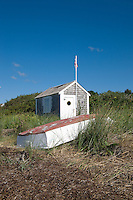 Beach shack and rowboat, Chatham, Cape Cod, MA, USA