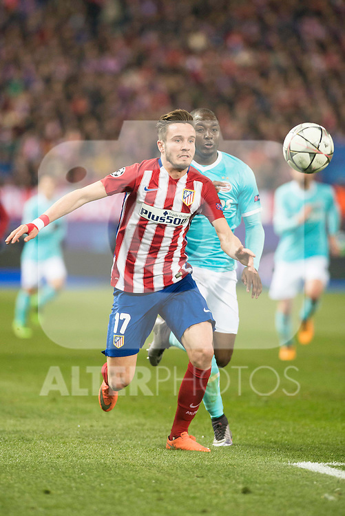 Atletico de Madrid's Saul Niguez and PSV Eindhoven's Jetro Willems during UEFA Champions League match. March 15,2016. (ALTERPHOTOS/Borja B.Hojas)