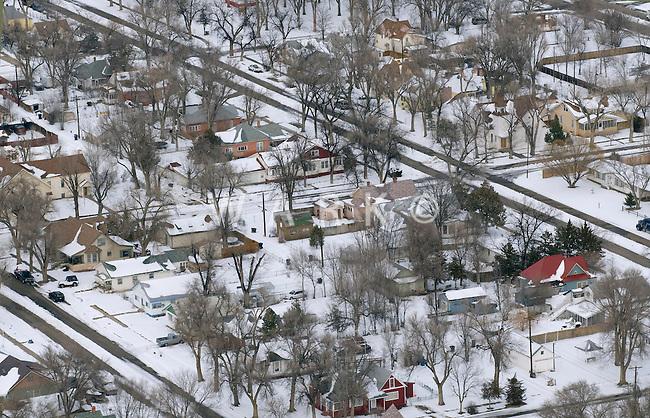 small town winter neighborhood