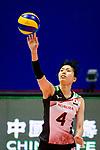 Risa Shinnabe of Japan serves the ball during the FIVB Volleyball Nations League Hong Kong match between Japan and Italy on May 29, 2018 in Hong Kong, Hong Kong. Photo by Marcio Rodrigo Machado / Power Sport Images