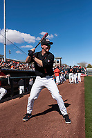 Oregon State Beavers infielder Kyler McMahan (1) warms up before a game against the Gonzaga Bulldogs on February 16, 2019 at Surprise Stadium in Surprise, Arizona. Oregon State defeated Gonzaga 9-3. (Zachary Lucy/Four Seam Images)