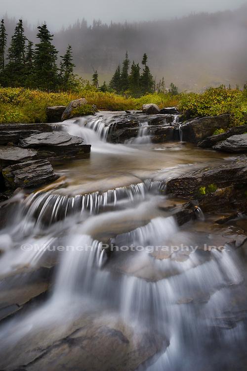 Waterfall, Logan Pass, Glacier National Park, Montana