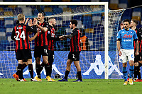 Zlatan Ibrahimovic of AC Milan celebrates with team mates after scoring the goal of 0-2 during the Serie A football match between SSC Napoli and AC Milan at San Paolo stadium in Naples (Italy), November 22th 2020. Photo Cesare Purini / Insidefoto
