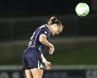 Brittany Bock #5 of the Washington Freedom heads the ball during a WPS match against the Boston Breakers on May 8 2010, at the Maryland Soccerplex, in Boyds, Maryland. The game ended in a 0-0 tie.