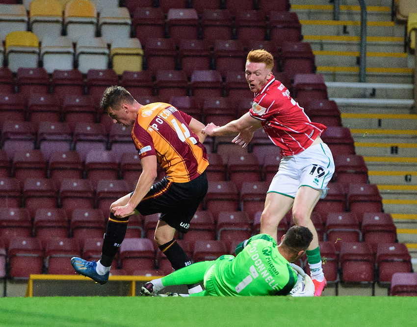 Bradford City's Richard O'Donnell saves at the feet of Lincoln City's Callum Morton<br /> <br /> Photographer Chris Vaughan/CameraSport<br /> <br /> Carabao Cup Second Round Northern Section - Bradford City v Lincoln City - Tuesday 15th September 2020 - Valley Parade - Bradford<br />  <br /> World Copyright © 2020 CameraSport. All rights reserved. 43 Linden Ave. Countesthorpe. Leicester. England. LE8 5PG - Tel: +44 (0) 116 277 4147 - admin@camerasport.com - www.camerasport.com