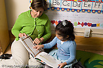 Education Preschool 3-5 year olds female teacher sitting and reading with girl who is pointing at page horizontal
