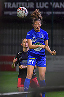Gent's defender Fran Meersman (5) pictured during a female soccer game between  AA Gent Ladies and Femina White Star Woluwe on the third matchday of the 2020 - 2021 season of Belgian Scooore Womens Super League , friday 2 nd of October 2020  in Oostakker , Belgium . PHOTO SPORTPIX.BE | SPP | STIJN AUDOOREN