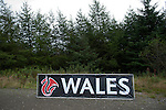 14th September 2012 - Devils Bridge - Mid Wales : WRC Wales Rally GB SS6 Myherin stage : Wales sign in the forest.