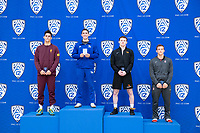 STANFORD, CA - March 7, 2020: Cade Belshay of Arizona State University, Josh Loomer of Cal State Bakersfield, Colt Doyle of Oregon State University, and Foster Karmon of Stanford receive awards during the 2020 Pac-12 Wrestling Championships at Maples Pavilion.