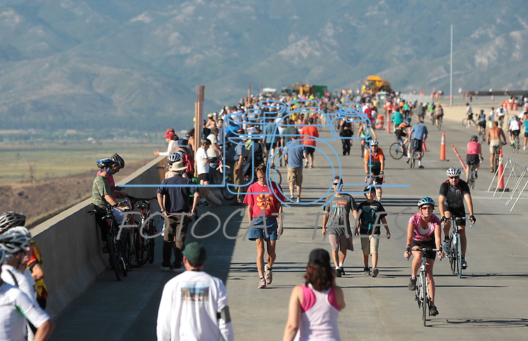 """Thousands of people came out  to run, bike or walk during the I-580 """"Rush to Washoe"""" event before the new 8.5 mile freeway between Reno and Carson City opens to traffic. The event, held Saturday, July 28, 2012, gave residents a chance to enjoy the views on what is being called the most scenic highway in Nevada. .Photo by Cathleen Allison"""