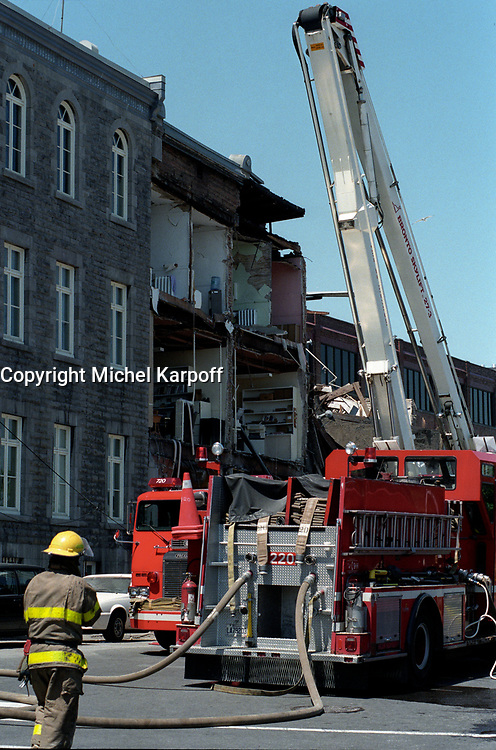 FILE PHOTO :  Gas leak explosion at Acceuil Bonneau in Old-Montreal, September 6, 1998.<br /> <br /> <br /> <br /> <br /> <br /> <br /> <br /> <br /> <br /> <br /> .
