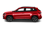 Car Driver side profile view of a 2020 Skoda Karoq Sport-Line 5 Door SUV Side View