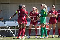 STANFORD, CA - SEPTEMBER 12: Naomi Girma, Belle Briede, Sierra Enge, and Katie Meyer before a game between Loyola Marymount University and Stanford University at Cagan Stadium on September 12, 2021 in Stanford, California.