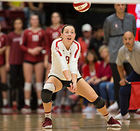 STANFORD, CA - NOVEMBER 17: Stanford, CA - November 17, 2019: Morgan Hentz at Maples Pavilion. #4 Stanford Cardinal defeated UCLA in straight sets in a match honoring neurodiversity. during a game between UCLA and Stanford Volleyball W at Maples Pavilion on November 17, 2019 in Stanford, California.