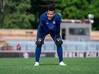 CLEVELAND, OH - SEPTEMBER 14: Adrianna Franch of the United States warms up during a training session at the training fields on September 14, 2021 in Cleveland, Ohio.