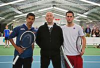 20-01-13, Tennis, Rotterdam, Wildcard for qualification ABNAMROWTT, Fabian van der Lans, Umpire Rob Mulder en Jesse Timmermans(v.l.n.r.)