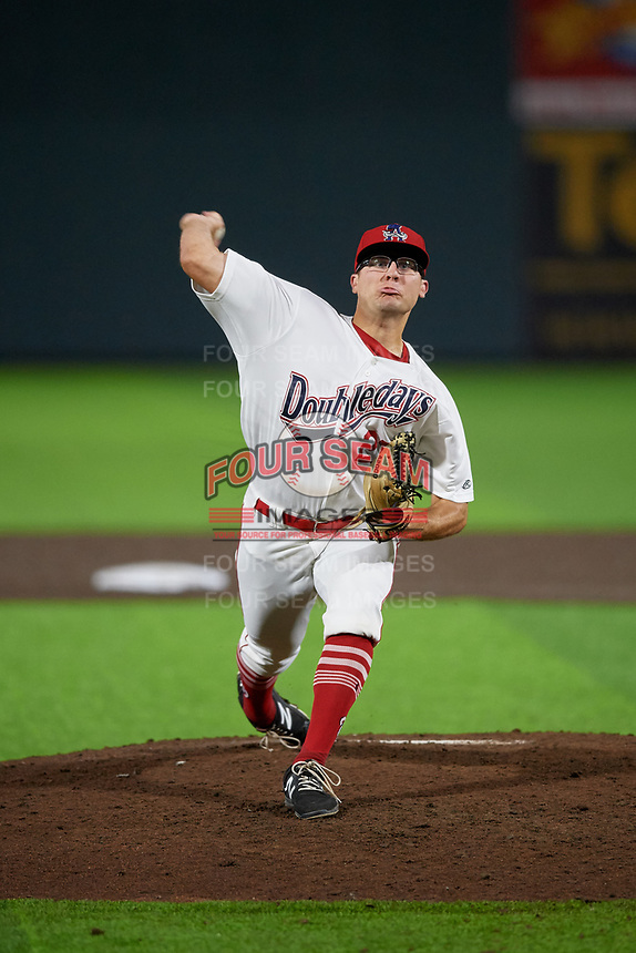 Auburn Doubledays relief pitcher Bobby Milacki (27) during a NY-Penn League game against the Connecticut Tigers on July 12, 2019 at Falcon Park in Auburn, New York.  Auburn defeated Connecticut 7-5.  (Mike Janes/Four Seam Images)