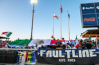 SAN JOSE, CA - SEPTEMBER 4: San Jose Earthquakes fans on Mexican Heritage Night before a game between Colorado Rapids and San Jose Earthquakes at PayPal Park on September 4, 2021 in San Jose, California.