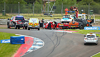 30th August 2020; Knockhill Racing Circuit, Fife, Scotland; Kwik Fit British Touring Car Championship, Knockhill, Race Day; The track is cleared after the collision with Ollie Jackson and Mike Bushell in round 12 of the BTCC