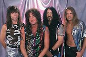 SUNRISE, FL - JULY 6 : Rudy Sarzo, Kevin DuBrow, Frankie Banali, and Carlos Cavazo of Quiet Riot during a photo session at the Sunrise Theater on July 6, 2001 in Sunrise, Florida. Credit Larry Marano (C) 2001