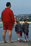 Brittany France Father and twin sons on holiday 1990s