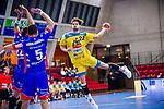 Fynn Beckmann (HSG Konstanz #22) ; li: Romas Kirveliavicius (HBW Balingen #5) beim Spiel HSG Konstanz – HBW Balingen-Weilstetten beim BGV Handball Cup 2020.<br /> <br /> Foto © PIX-Sportfotos *** Foto ist honorarpflichtig! *** Auf Anfrage in hoeherer Qualitaet/Aufloesung. Belegexemplar erbeten. Veroeffentlichung ausschliesslich fuer journalistisch-publizistische Zwecke. For editorial use only.
