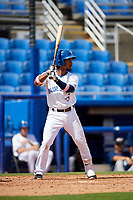 Dunedin Blue Jays shortstop Ivan Castillo (1) at bat during a game against the Lakeland Flying Tigers on May 27, 2018 at Dunedin Stadium in Dunedin, Florida.  Lakeland defeated Dunedin 2-1.  (Mike Janes/Four Seam Images)
