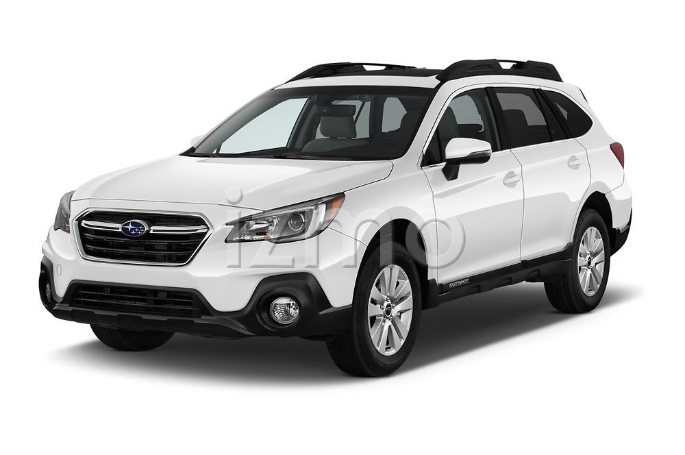 2018 Subaru Outback Premium 5 Door Wagon angular front stock photos of front three quarter view