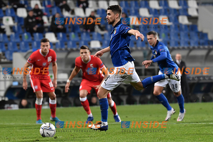 Jorge Luiz Frello Filho Jorginho of Italy scores on penalty the goal of 1-0 during the Uefa Nation League Group Stage A1 football match between Italy and Poland at Citta del Tricolore Stadium in Reggio Emilia (Italy), November, 15, 2020. Photo Andrea Staccioli / Insidefoto