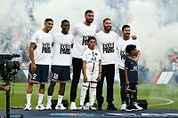 Presentation de Lionel Leo Messi ( 30 - PSG ) - Sergio Ramos ( 4 - PSG ) - Gianluigi Donnarumma ( 50 - PSG ) - Georginio Wijnaldum ( 18 - PSG ) - Achraf Hakimi ( 2 - PSG ) - <br /> Paris 14/08/2021 <br /> Paris Saint Germain vs Strasbourg <br /> Football Ligue 1 2021/2022<br /> Photo Federico Pestellini/Panoramic/insidefoto <br /> ITALY ONLY
